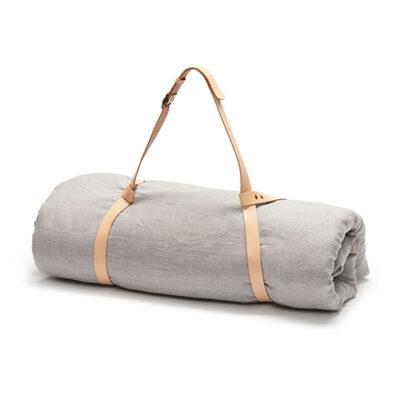 rullet yogamåtte grå hør